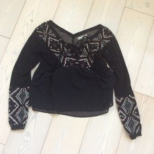 Abercrombie sweater, black pattern boho, sz S